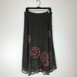 Nic Zoe 12 Brown Emroidered A Line Skirt